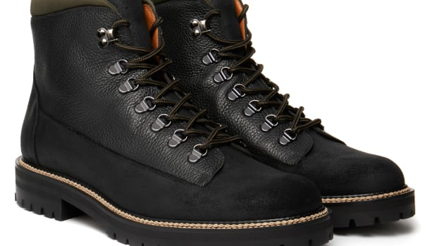 MR P Jacques Black Shearling Lined Walking Boot In WaxyAlce Grain On Commando Sole_1076193_