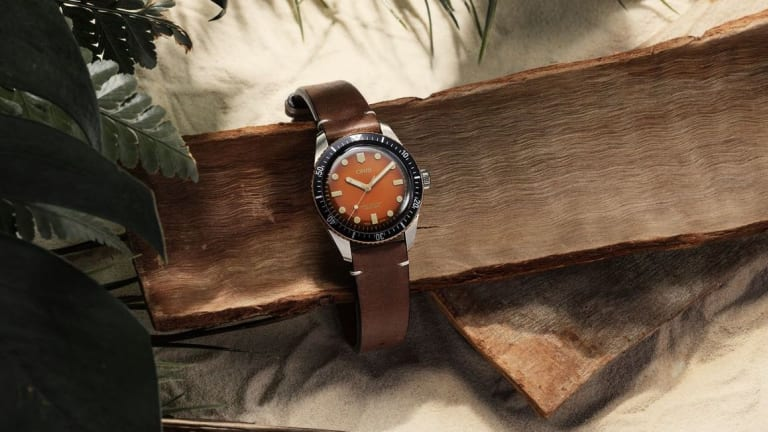 """The Rake and Revolution team up with Oris on a """"Honey"""" version of the Divers Sixty-Five"""