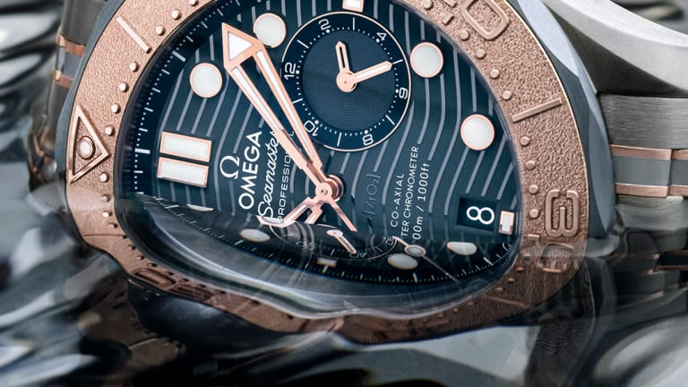 Omega's perfectly combines gold, titanium, and tantalum in their latest Seamaster