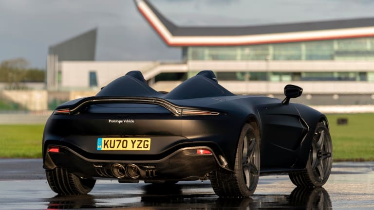 Aston Martin offers up a look at its sinister-looking V12 Speedster prototype