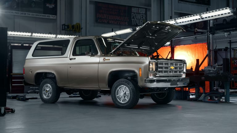 Chevrolet unveils a 1977 K5 Blazer with an all-electric engine