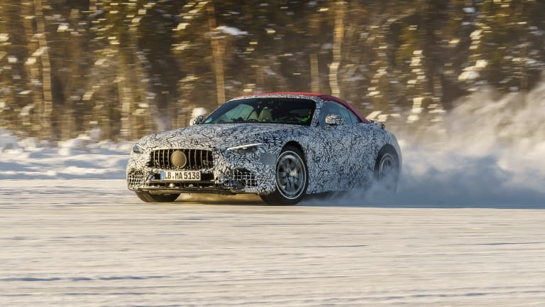 Mercedes-AMG teases the eight-generation SL on its final winter development drive