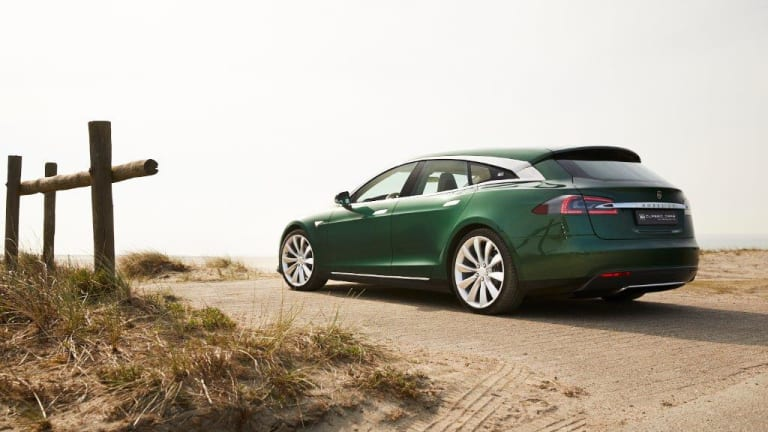 A one of a kind Tesla Model S wagon just went up for sale
