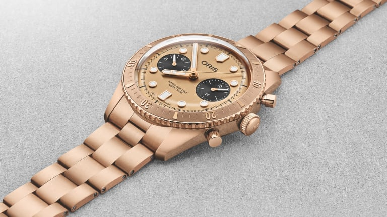 Oris's latest Divers Sixty-Five features a bronze case and bracelet