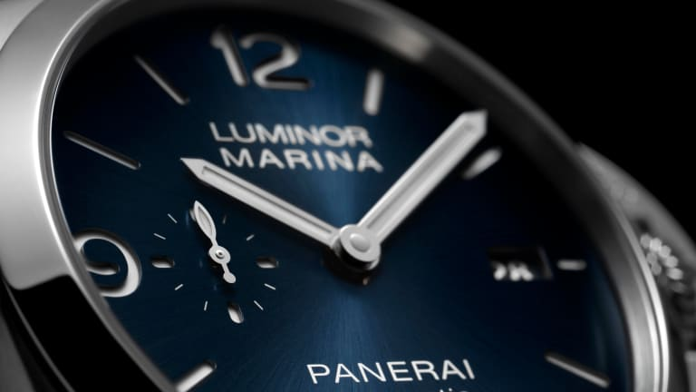 Panerai updates the Luminor Marina with its first blue sun-brushed sandwich dial