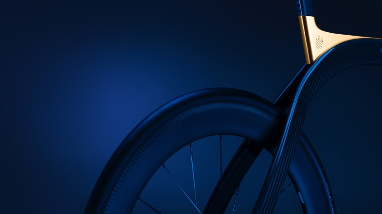 Extans unveils a bicycle made out of blue carbon fiber