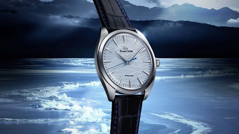 """Grand Seiko's """"Omiwatari"""" features a dial that emulates the look of a frozen lake"""