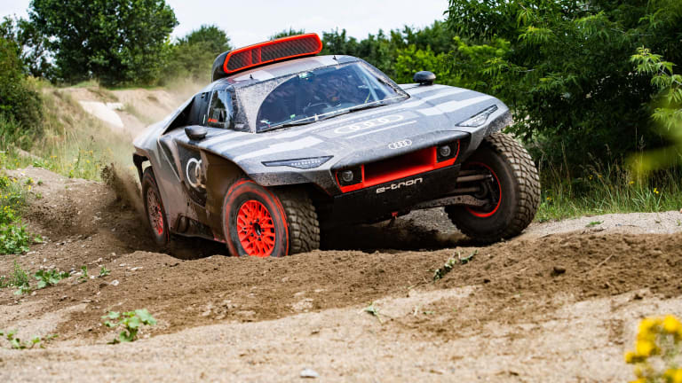 Audi is putting some of its latest EV tech into a Dakar-ready off-roader called the RS Q e-tron