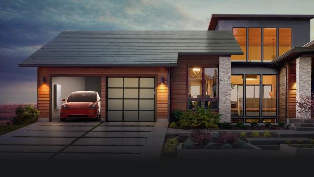 Home with Tesla Solar Tiles