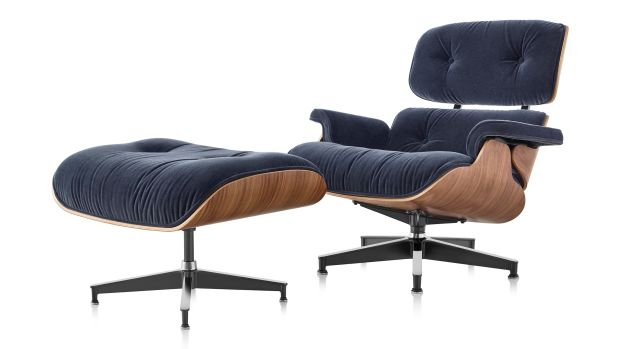 Eames Lounge Chair and Ottoman in Mohair