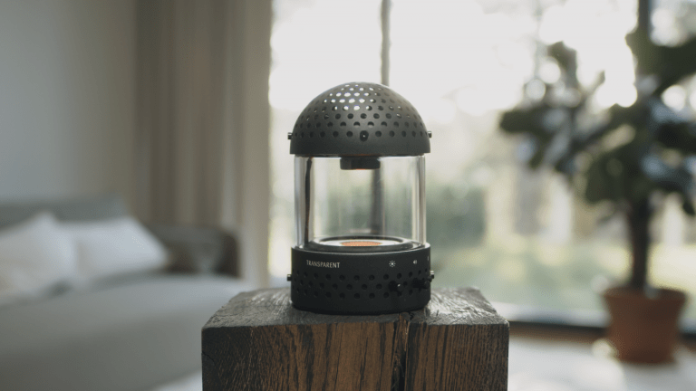 Transparent created a glass lantern with an integrated wireless speaker