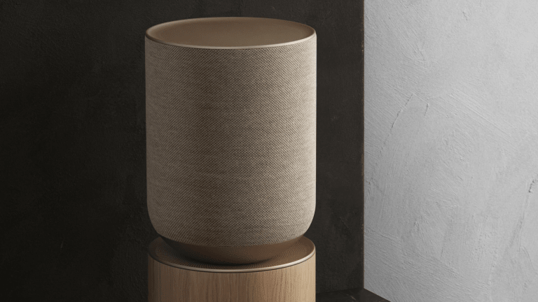 Bang & Olufsen's Beosound Balance combines high-performance acoustics and Scandinavian minimalism