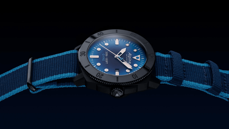 Alpina's new Seastrong features a composite case made out of recycled fishing nets