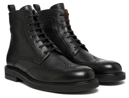 MR P Jacques Brogue Boot in Black Soft Grain Alce on Dainite Sole_1076187_
