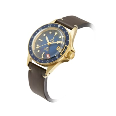 Superman GMT Bronze Blue profile leather