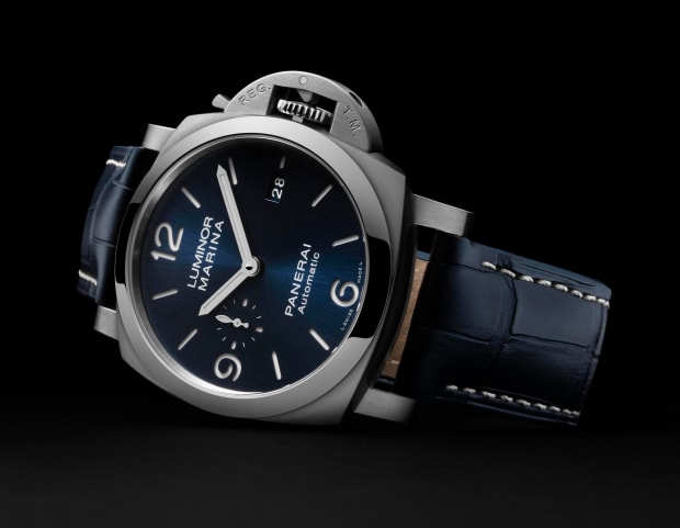 Panerai updates the Luminor Marina with its first blue sun brushed sandwich dial