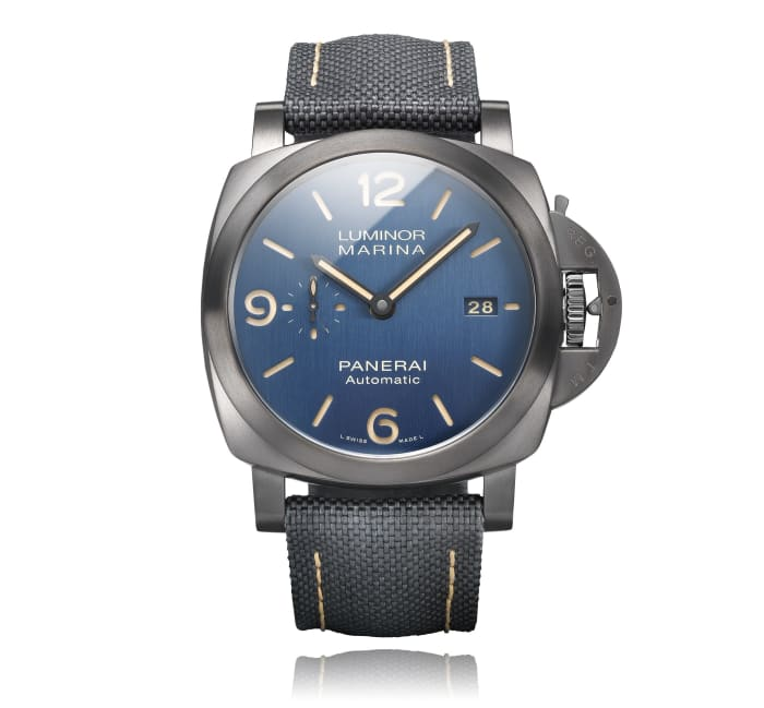 The Panerai Luminor Marina joins the Bucherer Blue collection