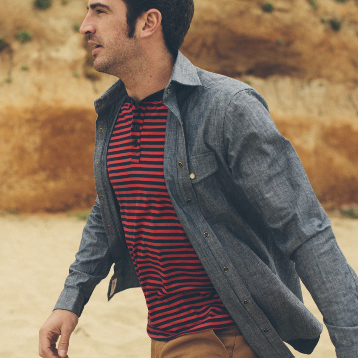 Photo: Taylor Stitch (Model is wearing the Chambray Glacier Shirt, Stripe Camp Henley, and the Canvas Camp Shorts)