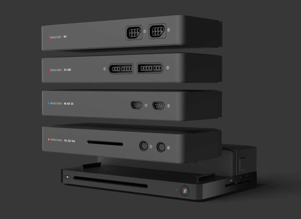 Individual NES, SNES, Genesis, and TurboGrafx modules shown.