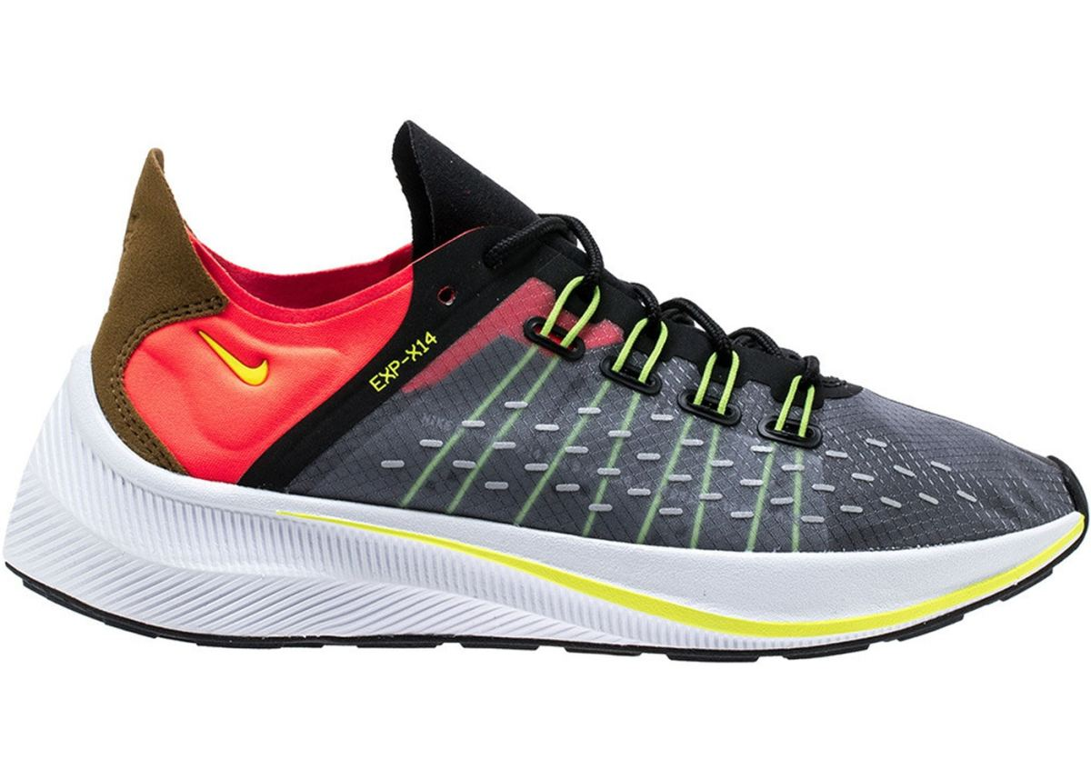 Nike EXP-X14 in Black Volt Total Crimson.