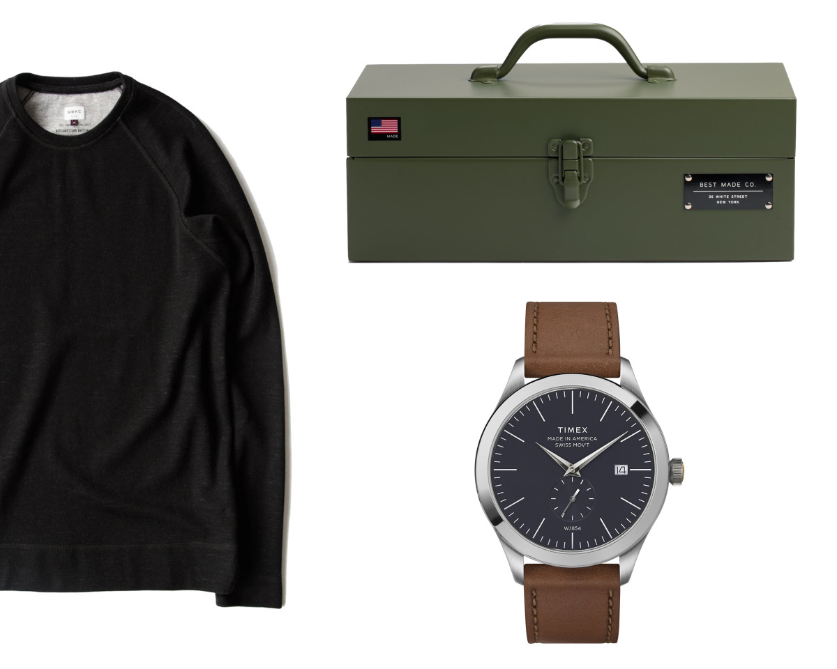 NWKC Crew Neck (left, 30% off), Best Made Strongbox (top right, 30% off), Timex Made in America (bottom right, 30% off)