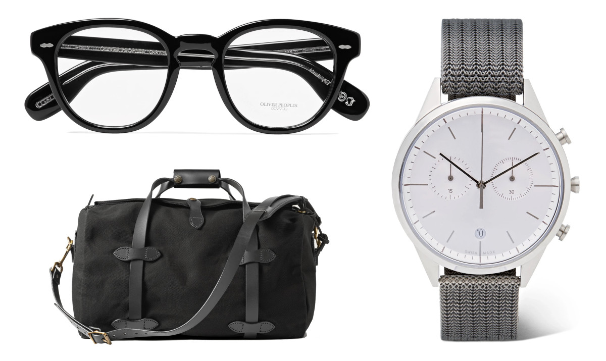Oliver Peoples Cary Grant (top left - $190), Filson Small Rugged Twill Duffle (bottom left - $199), Uniform Wares C39 Chronograph (right - $400)