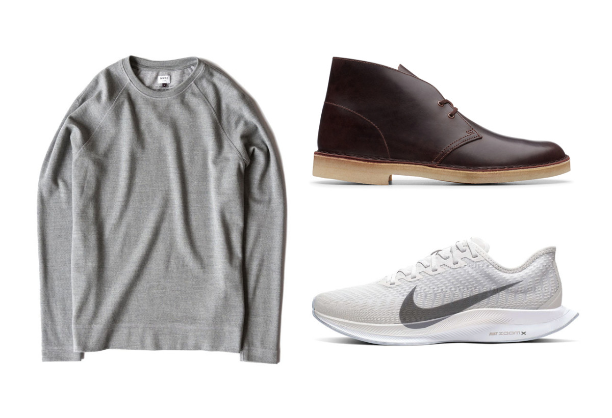 NWKC Crew ($96 - left), Clarks Desert Boot($70 - top right), Nike Zoom Pegasus Turbo 2 ($129 - bottom right)