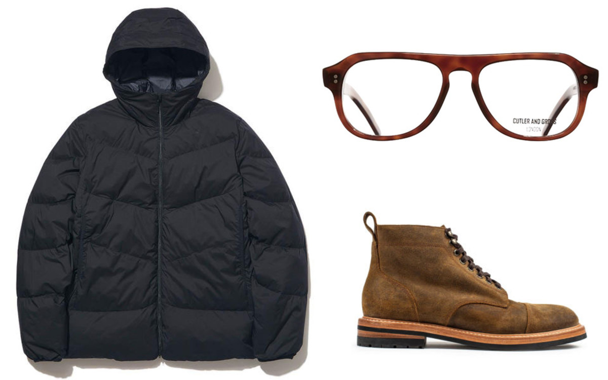 Goldwin Down Parka (left - $294, orig. $420), Cutler and Gross Optical Aviator (top right - $330, orig. $440)Taylor Stitch Moto Boot (bottom right - $278, orig. $348)