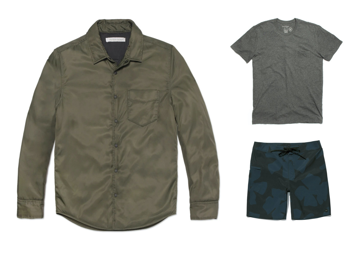 Evolution Shirt Jacket ($102 - left), S.E.A. Tee Pocket ($16 - top right), Nomadic Stretch Trunks ($39 - bottom right)