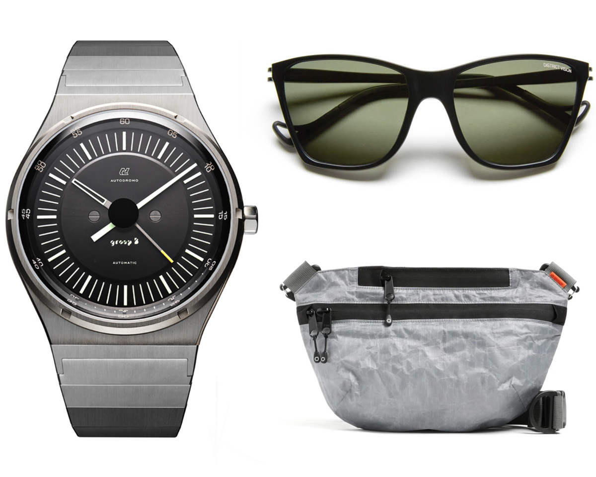 Autodromo Group B Series 2 (left), District Vision Keiichi (top right), DSPTCH Unit Sling Pouch (bottom right)