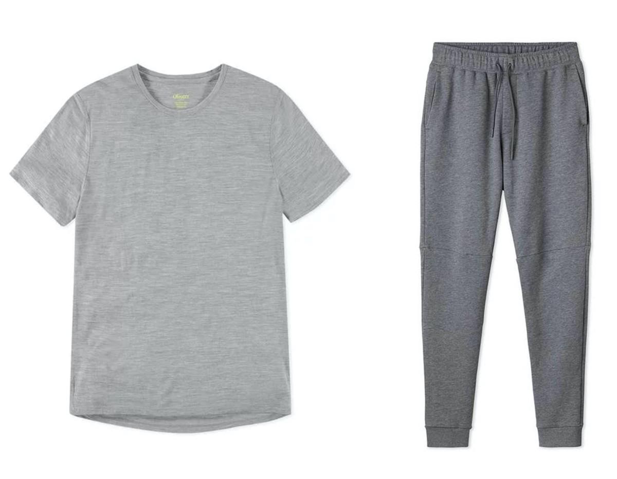 Convoy Shirt ($63 - left), Transit Sweatpant ($111 - right)