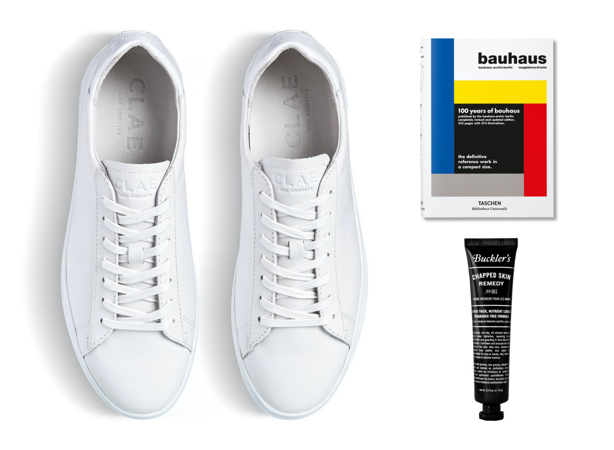 Clae Bradley Triple White (left - $105, orig. $150), Taschen's Bauhaus (top right - ($16, orig. $20), Buckler's Chapped Skin Remedy Tube ($19, orig. $24)