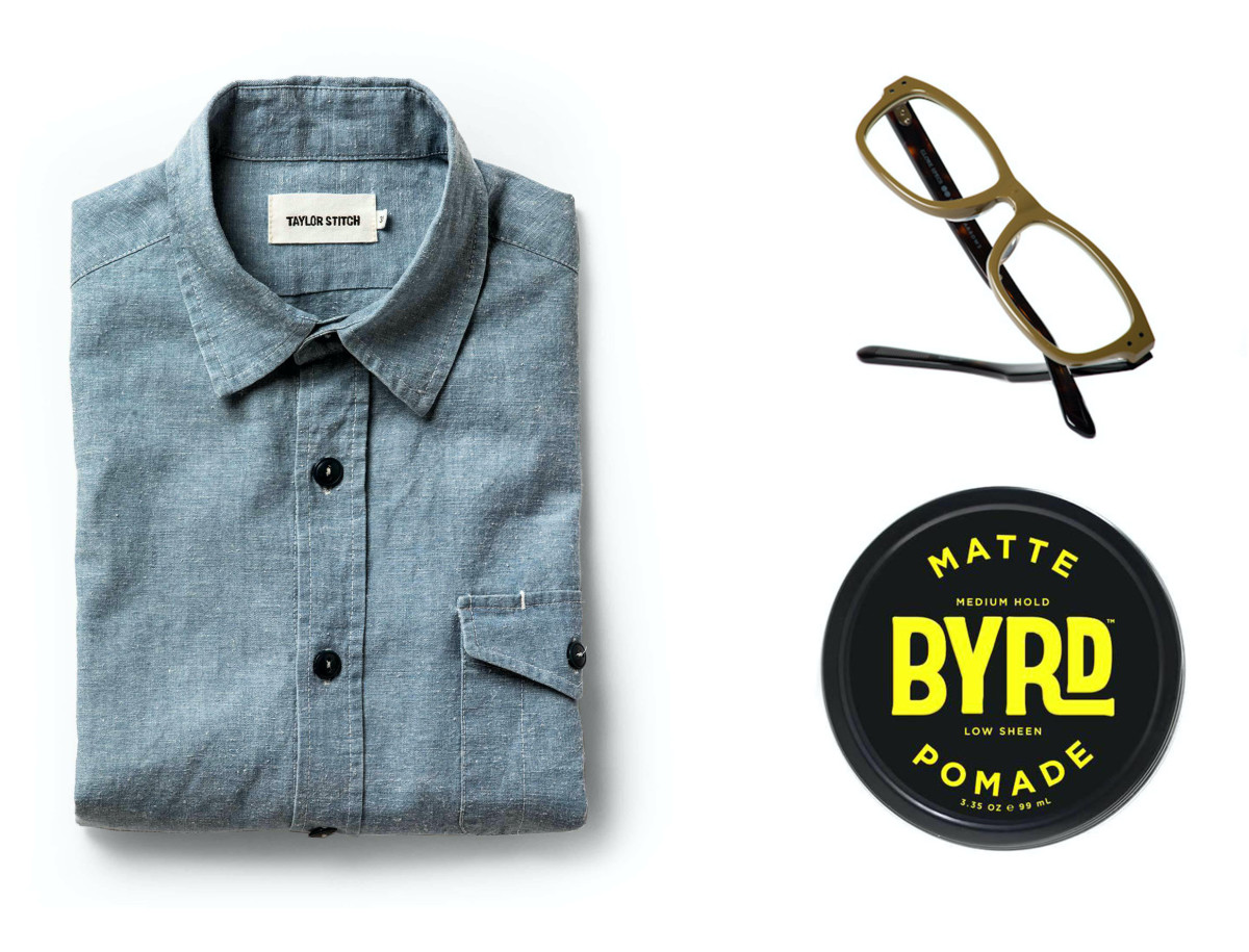 Taylor Stitch's Cash Shirt (left - $87, orig. $125), Globe Specs x United Arrows Montauk (top right - $170, orig. $310), Byrd Pomade (bottom right - $16, orig. $20)